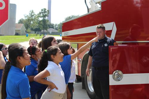 Students learn about fire safety equipment