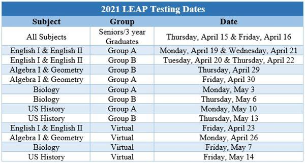 CHS Spring LEAP Testing Schedule