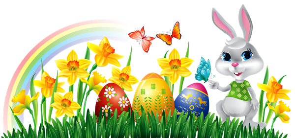Easter Bunny and Eggs Clipart with Rainbow