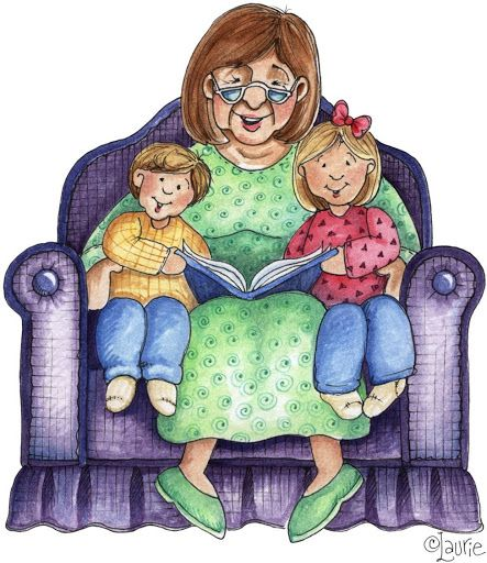 Grandparent and grandchildren reading a book clipart
