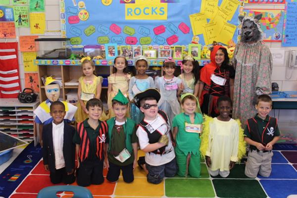 First Grade Students with teacher during Fairy Tale Week
