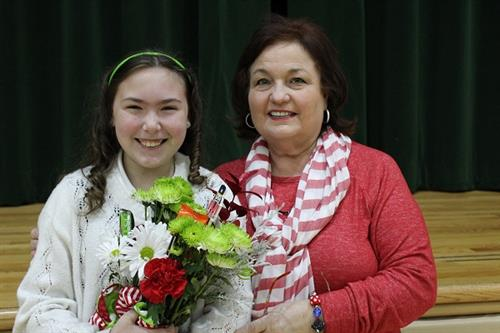 Robyn Hays, Arabi Elementary's Student of the Year along with Principal Carla Carollo