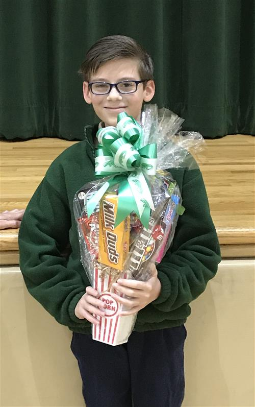 Alex Alford with candy bouquet