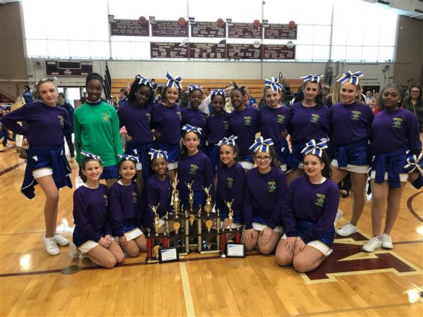 Andrew Jackson Colonelettes pose with their competition awards.
